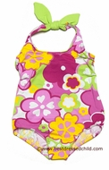Florence Eiseman Girls Yellow / Pink / Green Beach Floral Tank Swimsuit with Cut Out Back