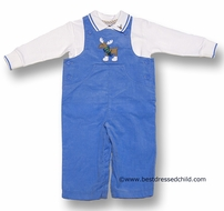 Florence Eiseman Infant Baby Boys Blue Corduroy Longall with Skater Moose and Polo Shirt