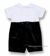 Florence Eiseman Infant Baby Boys Dressy Black Velvet Button On Shorts Outfit