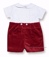 Florence Eiseman Infant Baby Boys Dressy Christmas Red Velvet Button On Shorts Outfit
