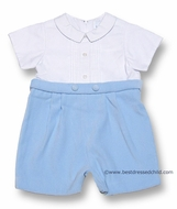 Florence Eiseman Infant Baby Boys Dressy Pastel Blue Velvet / White Pique Shorts Outfit