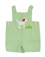 Florence Eiseman Infant Baby Boys Green Pincord Puppy Dog Shortall