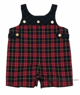 Florence Eiseman Infant Baby Boys Holiday Red Plaid / Navy Blue Plaid REVERSIBLE Yoke Shortall
