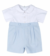 Florence Eiseman Infant Baby Boys Light Blue / White Pique Dressy Button Shorts Outfit