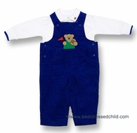 Florence Eiseman Infant Baby Boys Royal Blue Corduroy Football Bear Longall with Shirt