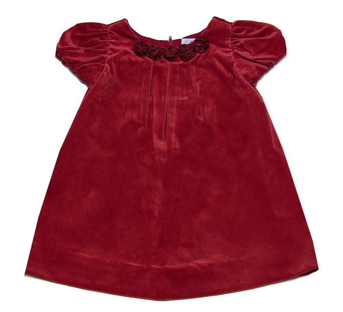 Florence eiseman infant baby girls christmas red velvet dress with