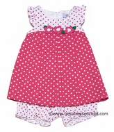 Florence Eiseman Infant Baby Girls Honeysuckle Pink / White Polka Dots Bloomers Set