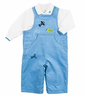 Florence Eiseman Infant Boys Blue Corduroy Airplanes Longall with Shirt