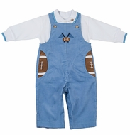 Florence Eiseman Infant Boys Blue Corduroy Football Pockets Longall with Polo Shirt