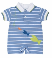 Florence Eiseman Infant Boys Blue Striped Knit Romper with Fish