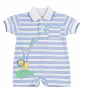 Florence Eiseman Infant Boys Blue Striped Zoo Animals Knit Romper