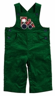 Florence Eiseman Infant Boys Green Corduroy Longall with Plaid Applique Train