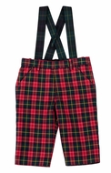 Florence Eiseman Infant Boys Green / Red / Navy Blue Holiday Plaid Suspender Pants