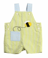 Florence Eiseman Infant Boys Green Seersucker Shortall with Pocket / Bee