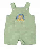 Florence Eiseman Infant Boys Green Striped Seersucker Shortall with Lion Applique