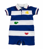 Florence Eiseman Infant Boys Royal Blue / White Octopus / Crab Polo Romper