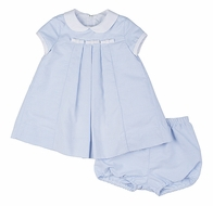 Florence Eiseman Infant Girls Blue Ottoman Dress with Bloomers