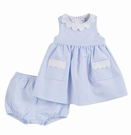 Florence Eiseman Infant Girls Blue Ottoman Sleeveless Dress with Bloomers