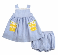 Florence Eiseman Infant Girls Blue Seersucker Dress with Yellow Daisy Pockets & Bloomers
