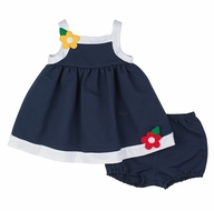 Florence Eiseman Infant Girls Navy Blue Pique Dress with Bloomers