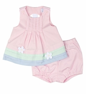 Florence Eiseman Infant Girls Pink / Green / Blue Pique Daisy Back Dress & Bloomers