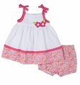 Florence Eiseman Infant Girls Pink Pops Floral / White Pique Sundress with Bloomers