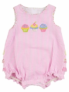 Florence Eiseman Infant Girls Pink Seersucker Cupcakes Ruffle Bubble