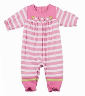 Florence Eiseman Infant Girls Pink Striped Knit Flowers Romper