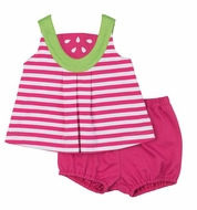 Florence Eiseman Infant Girls Pink Striped Knit Watermelon Bloomers Set