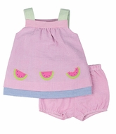 Florence Eiseman Infant Girls Reversible Seersucker Dress with Bloomers - Pink with Watermelons Reverses to Blue with Flowers