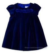 Florence Eiseman Infant Girls Royal Blue Velvet Holiday Dress with Organza Roses