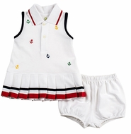 Florence Eiseman Infant Girls White Pique Knit Tennis Dress - Embroidered Anchors - Bloomers