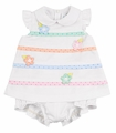 Florence Eiseman Infant Girls White Pique / Sherbet Punch Dots Bubble