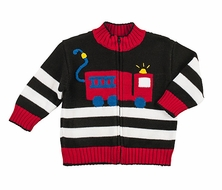 Florence Eiseman Infant / Toddler Boys Black / Red Intarsia Firetruck Sweater