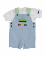 Florence Eiseman Infant / Toddler Boys Blue Junior Pincord Alligator / Fish Trio Shortall with Shirt