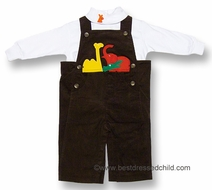 Florence Eiseman Infant / Toddler Boys Brown Wide Wale Corduroy Zoo Animals Longall with Shirt