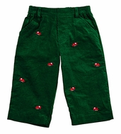 Florence Eiseman Infant / Toddler Boys Green Corduroy Embroidery Trains Pants