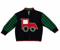 Florence Eiseman Infant / Toddler Boys Green / Navy Blue Houndstooth / Intarsia Train Zip Front Sweater