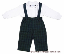 Florence Eiseman Infant / Toddler Boys Navy Blue / Green Plaid Suspender Pants with Shirt