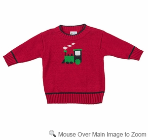 Florence Eiseman Infant / Toddler Boys Red / Green Intarsia Knit Train Sweater
