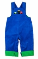 Florence Eiseman Infant / Toddler Boys Royal Blue / Green Corduroy Longall with Car & Truck