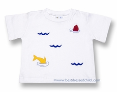 Florence Eiseman Infant / Toddler Boys White Cotton Tee Shirt with Colorful Jumping Fish