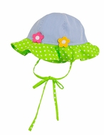 Florence Eiseman Infant / Toddler Girls Blue Pincord Lime Pops Sun Hat