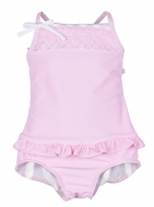 Florence Eiseman Infant / Toddler Girls Pink Check Embroidered Swimsuit
