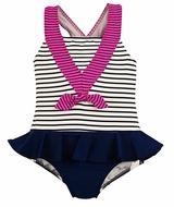 Florence Eiseman Navy Blue Sailor Girl Ruffle Swimsuit with Fuchsia Pink Bow