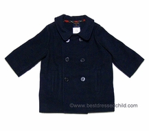 Florence Eiseman TF Laurence Boys Classic Navy Blue Fleece Double Breasted Pea Coat