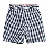 Florence Eiseman Toddler Boys Navy Blue Embroidered Sailboats Shorts