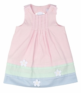 Florence Eiseman Toddler Girls Pink / Green / Blue Pastel Pique Dress with Daisy Back