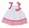 Florence Eiseman Toddler Girls Pink Pops Floral / White Pique Sun Dress