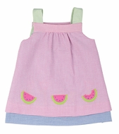 Florence Eiseman Toddler Girls Reversible Seersucker Dress - Pink with Watermelons Reverses to Blue with Flowers